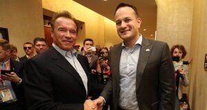 Taoiseach Leo Varadkar meeting Arnold Schwarzenegger in the Hiton Hotel in Austin, Texas. Pic: Niall Carson/PA Wire