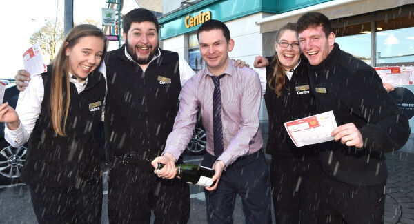 Lynch's store manager Conor Middleton celebrating earlier this week with staff Emily Russell, David Wilson, Grace O'Donovan, Greg O'Callaghan. Picture: Dan Linehan.