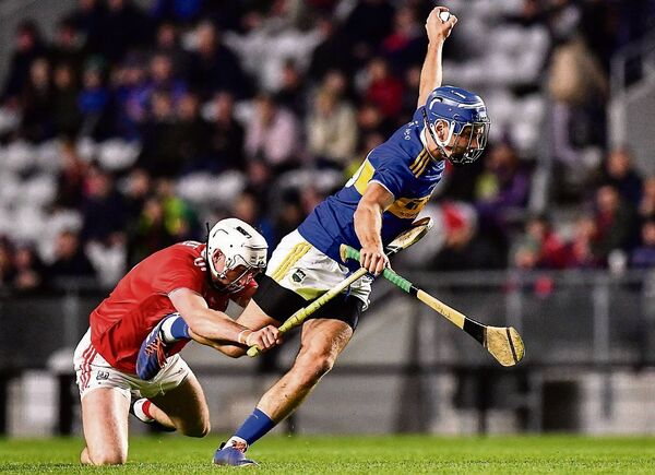 Cork's Tim O'Mahony tackles Tipperary's John McGrath in their Allianz League clash at Páirc Uí Chaoimh. Picture: Eóin Noonan/Sportsfile