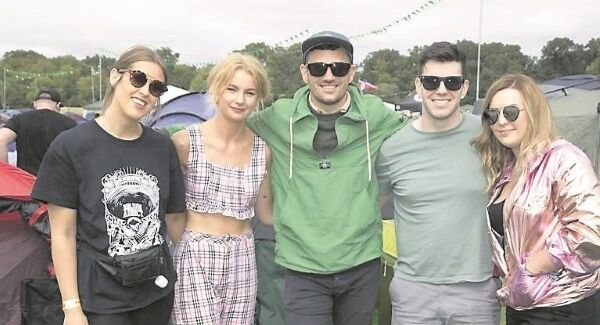 Jessica Higgins, Emma Fleury, Kevin O'Sullivan, Mark O'Mahoney, and Eva O'Keeffe from Cork at the Electric Picnic.