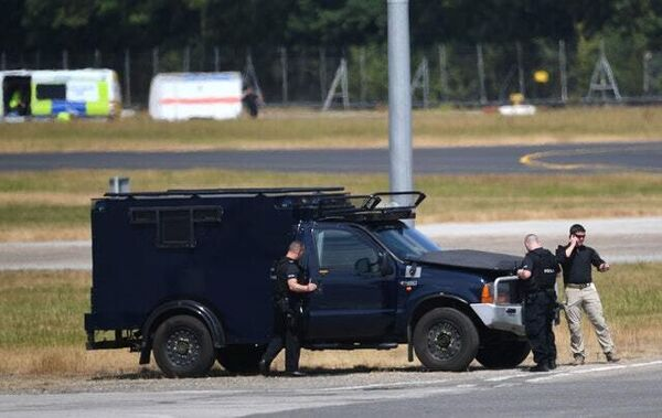 Security personnel at Stansted (Joe Giddens/PA)