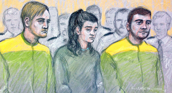 Court sketch of Zak Bolland, Courtney Brierley and David Worrall.