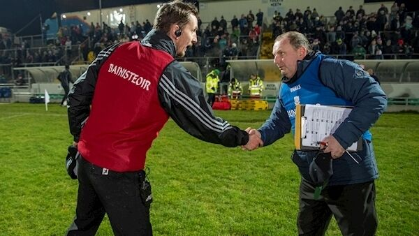 John Sugrue and Keith Ricken shake hands after the game. Picture: Domnick Walsh
