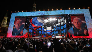 Latest: Vladimir Putin thanks supporters at election victory rally