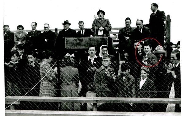 Margaret Pearse speaking at the opening of Pearses Park, Arklow on September 14, 1952. Fourteen-year-old Jimmy Dunne is circled.