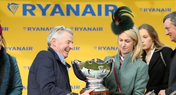 Owner Michael O'Leary celebrates with wife Anita Farrell after wining the Ryanair Steeple Chase with horse Balko des Flos during St Patrick's Thursday of the 2018 Cheltenham Festival.