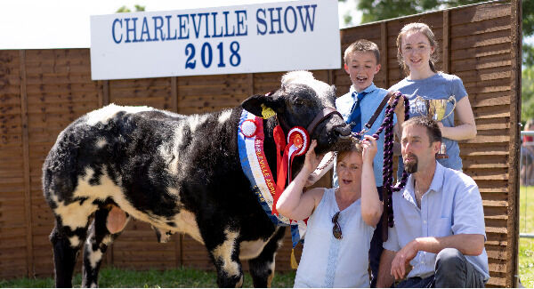 Christopher, Samantha, Fidelma and Richard Stanley from Bandon pictured with their Overall Calf Champion of Show at The Charleville Show 2018.