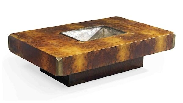 Burr thuya and brass coffee table with ice and bottle recess, 1973. WR. Christie's.
