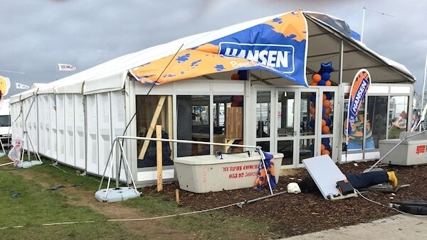 Storm damage to the exhibitor stands at the National Ploughing Championships at Screggan, Tullamore, Co Offaly. Picture Dan Linehan
