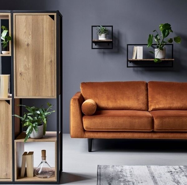 Argos Home Loft Living storage unit, set of two metal-surround shelves, and sofa from a selection at Argos.
