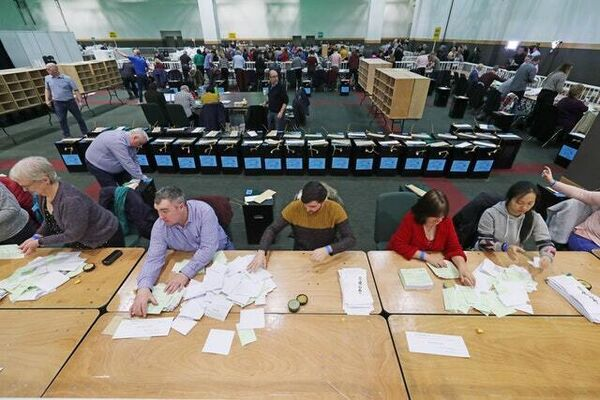 Vote-counting in Dublin (Niall Carson/PA)