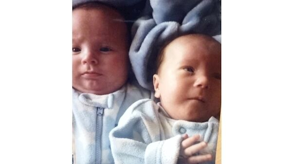 Baby Cormac and with twin, Callum