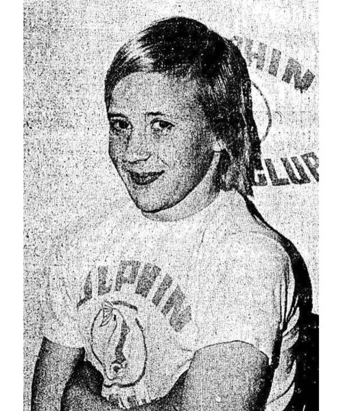 Eilís Burns at age 11 in 1976, the year she set three Munster swimming records.