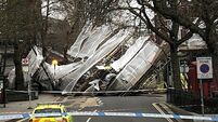 Wind blows down 200 sq metres of scaffolding in London
