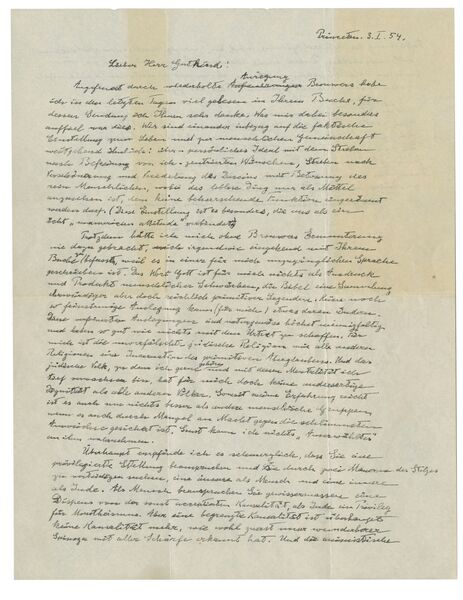 "The first page of Albert Einstein's ""God Letter,"" dated January 3, 1954.in which he offers his candid and unvarnished opinion that: ""The word God is for me nothing but the expression and product of human weaknesses, the Bible a collection of venerable but still rather primitive legends."" (Christie's via AP)"