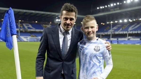 Ruairc with Everton with Everton manager Marco Silva