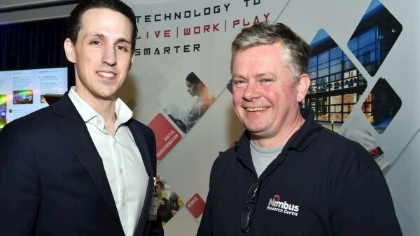 Richard Linger, (right) event organiser; head of Nimbus technology Gateway and Brandon Donnelly, managing director SteriTrack, one of the guest speakers at Beyond IoT 2 technology conference at Pairc Ui Chaoimh, Cork yesterday. Picture: Eddie O'Hare