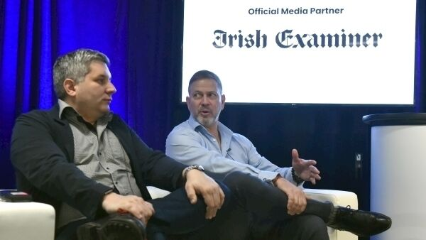 John Brigs Techcrunch and Troy Norcross, Blackchain Rookies at Beyond IoT 2 technology conference at Pairc Ui Chaoimh, Cork yesterday. Picture: Eddie O'Hare