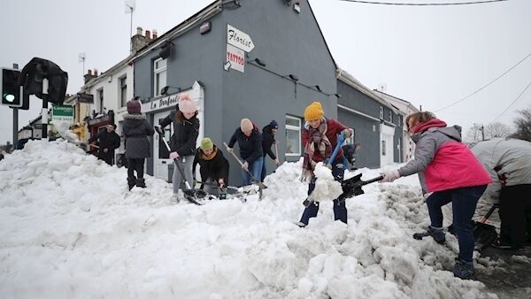 The clean up in the town of Sallins, Co Kildare, after the snow storms last March. Picture: Niall Carson