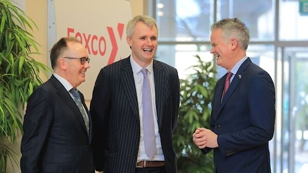 AmCham President Mark Gantly and CEO Mark Redmond are welcomed to Killorglin, Kerry, by CEO of Fexco Denis McCarthy for a Summit with members in the region last December.