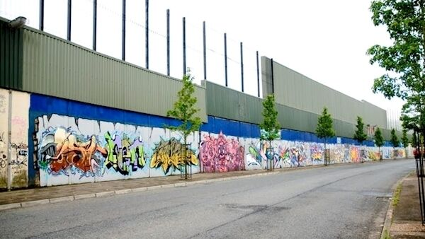 Belfast's peace wall which separates the republican Falls Road from the loyalist Shankill Road.