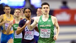Mark English wins his 800m heat at European Indoors