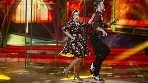 Clelia Murphy and dance partner Vitali Lozmin dance a jive to 'Tell Her About It' by Billy Joel.