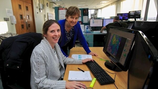 Hydro Meteoroligist Jo Cullinan and Joan Blackburn deputy head of Forecasting at Met Éireann HQ in Glasnevin, Dublin. Picture: Gareth Chaney Collins