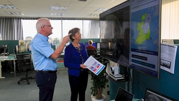 Joan Blackburn deputy head of Forecasting and Meteoroligist Pat Clarke at Met Éireann HQ in Glasnevin, Dublin. Picture: Gareth Chaney Collins