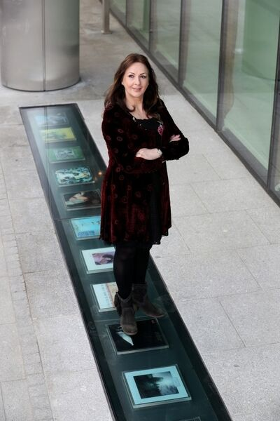 Pictured by the installation in the Vinyl Walkway of Clannad's album Magical Ring is Moya Brennan. Picture: Jason Clarke
