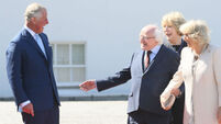 President Higgins welcomes Britain's Prince Charles and Camilla to Wicklow