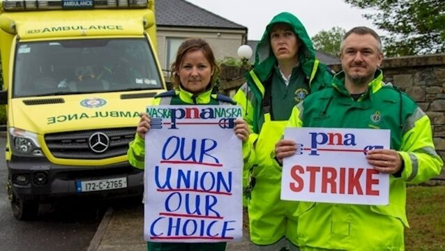 'Recognising breakaway unions has a destabilising effect', says HSE as ambulance personnel stage 24-hour strike