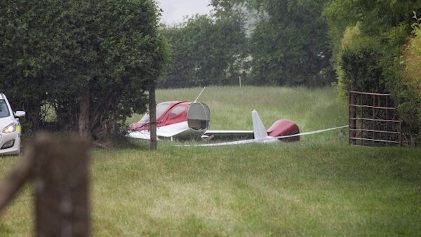 The scene after an aircraft crash at a farm in Belan, Moone, Co Kildare