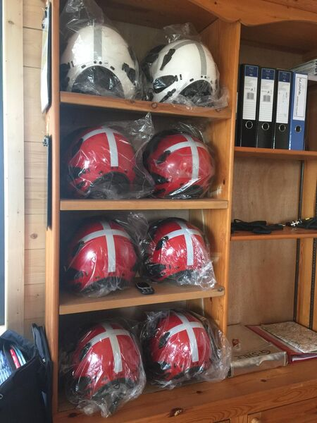 The Irish Community Rapid Response air ambulance base at Rathcoole aerodrome near Millstreet in Co Cork. Air ambulance crew helmets still in plastic wrapping, as the charity awaits HSE clearance to go live.