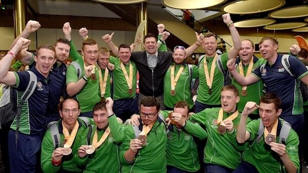 The Team Ireland soccer team who won bronze medals with former Ireland International Niall Quinn on their return from the 2019 World Summer Games Abu Dhabi at Dublin Airport today. Photo: Matt Browne/Sportsfile.