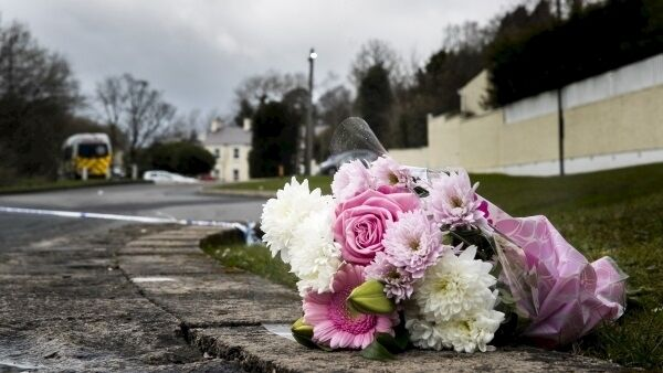 Flowers outside the Greenvale Hotel in Cookstown, Co. Tyrone. Picture: Liam McBurney/PA Wire