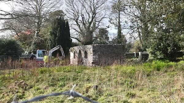 Stonework being removed from the detached three-bay-two story folly whick was built in 1880 at Bessborough in Blackrock, Cork. Picture: Dan Linehan.