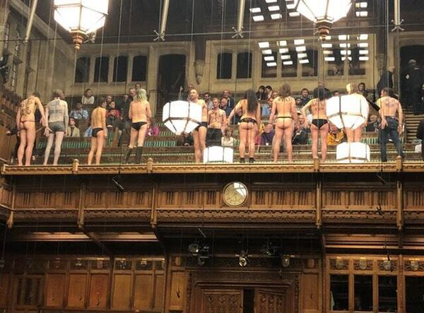 Picture taken with permission from the twitter feed of James Heappey MP of the Extinction Rebellion protest in the public gallery of the House of Commons (James Heappey/PA)