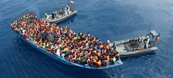 Migrants being rescued in a previous incident