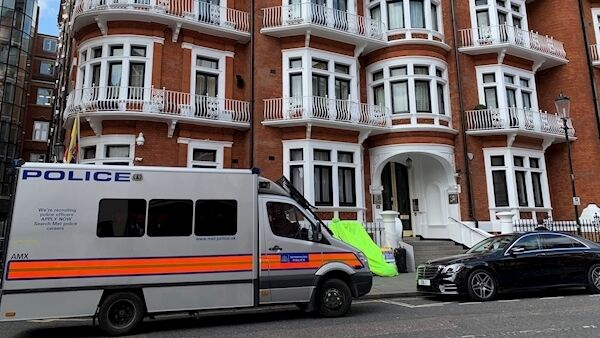 A police van outside the Ecuadorian Embassy in London today.