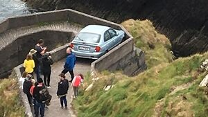 Baaaad move: Driver gets stuck on 'Sheep Highway' at Co Kerry pier