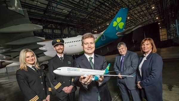 First Officer Laura Bennett;First Officer Niall McCauley;Sean Doyle, Aer Lingus Chief Executive; Mike Rutter, Aer Lingus Chief Operating Officer;and Dara McMahon, Aer Lingus Director of Marketing at the Aer Lingus brand reveal in front of an Airbus A330 freshly painted in the new aircraft livery. Photo: Naoise Culhane