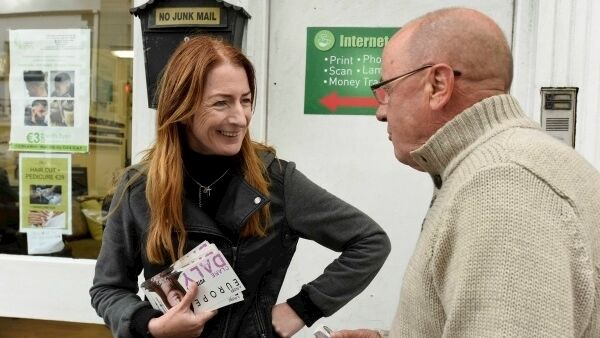 Clare Daly canvassing before last week's European Elections