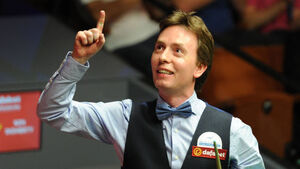 Actor Jackie Chan shows off snooker skills to Ireland's Ken Doherty