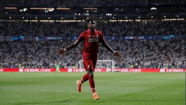 Liverpool's Divock Origi celebrates after scoring his side's second goal during the Champions League final soccer match between Tottenham Hotspur and Liverpool at the Wanda Metropolitano Stadium in Madrid. Photo: AP Photo/Bernat Armangue