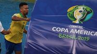Watch: Gabriel Jesus pushes over VAR monitor after Copa America final red card