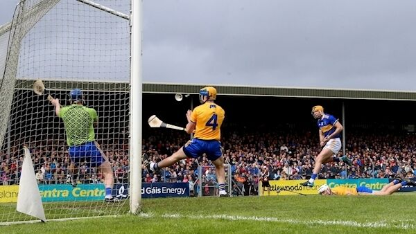 Clare goalkeeper Donal Tuohy and defenders Seadna Morey and Patrick O'Connor are left helpless as Seamus Callanan blasts home Tipperary's second goal in yesterday's Munster SHC clash at Cusack Park. Picture: James Crombie