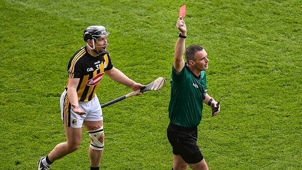 Referee James Owens shows Richie Hogan of Kilkenny a red card. Picture: Inpho