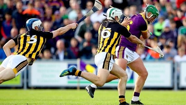 Kilkenny's Huw Lawlor and Padraig Walsh block a goal effort from Conor McDonald of Wexford. Picture: INPHO/James Crombie