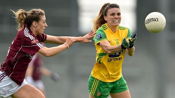 Niamh Hegarty of Donegal in action against Sinead Burke of Galway during the Lidl NFL Division 1 semi-final match between Galway and Donegal at Glennon Brothers Pearse Park in Longford. Photo by Matt Browne/Sportsfile